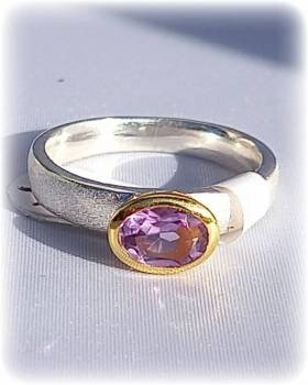 Silberring mit Amethyst Bicolor